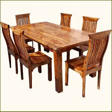 rustic 7 pc solid wood dining table chair set rustic