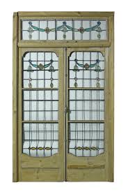 pair of antique leaded glass french double doors with for double glass french doors