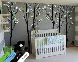 black tree blossom animals wall