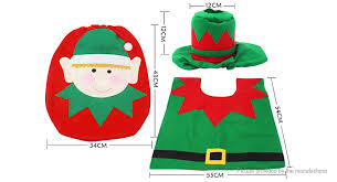 elf styled toilet seat cover rug tissue box cover set decoration 3 piece