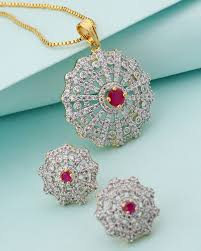 designer pendant sets red white stones studded designer pendant set with chain for women voylla