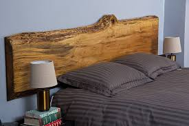 beautiful live edge maple headboard for contemporary bedroom in blue and gray design