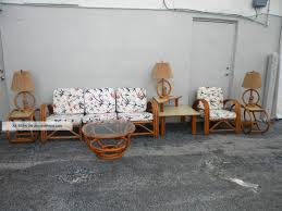 Mid Century Living Room Furniture White Pattern Sofa With Brown Wooden Frame And Base Also Oval Mid