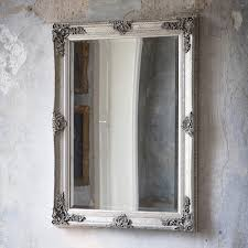 french style antique silver rectangular wall mirror with decorative frame