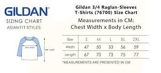 Gildan Youth Raglan Size Chart Gildan 3 4 Raglan Sleeves T Shirts 76700