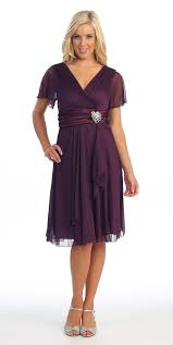 Short Sleeve Black Modest Knee Length Dress V Neckline Chiffon
