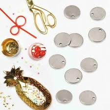 100pcs round tags stainless steel