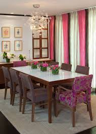 upholstered chairs dining room contemporary with white dining table bubble chandelier window treatment
