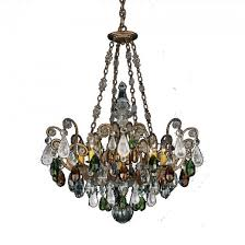 schonbek 3587 48os renaissance 8 light crystal chandelier in antique silver with olivine and smoke rock