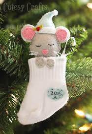 Baby Mouse Sock Stocking Ornament....these are the BEST DIY Ornament Ideas