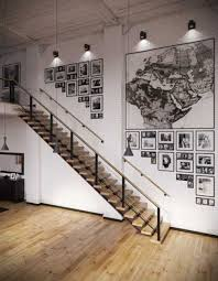 industrial track lighting. Furniture : Awesome Loft Living Spaces Home Designs With Industrial Track Lighting Also Modern Wood Step Starcase As Well Map Wall Art Touch U
