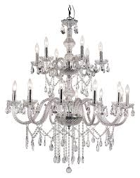 trans globe hu 18 pc large 2 tier polished chrome crystal chandelier lamp loading zoom