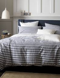 coastal stripe navy 100 cotton duvet