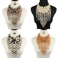details about exaggereated gold chain multilayer long tassel pearl pendant chokers necklace