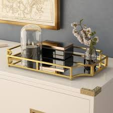 Decorative Glass Trays Glass Gold Decorative Trays You'll Love Wayfair 99