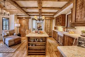Rustic Kitchen Flooring Reclaimed Barnwood Floor For Kitchen Layout Outofhome
