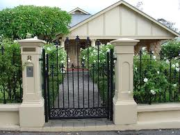 Modern Gate Pillar Design Rendered Brick Pillars And Fence With Iron Work Gate And