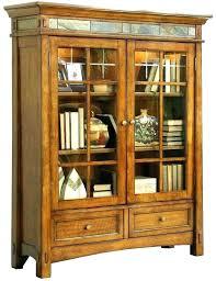 glass front bookcase bookshelf vintage wood