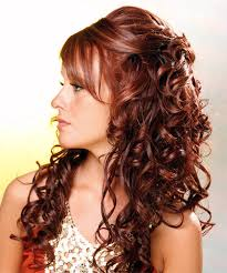 the half down curl idea is another interesting variation that can be adopted by many las willing to have a stylish hairstyle even if they have curly and