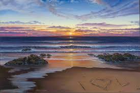 ocean sunset beach oil painting