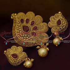 ps9932 red stone gold design matte reddish colour pendant set latest jewellery