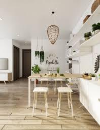 Scandinavian Dining Room With Wicker Light