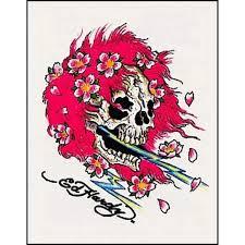 Ed Hardy Flower Design Ed Hardy Pink Hair Skull Temporaray Tattoo Click Image For