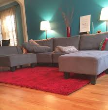 Pinterest Living Room Idea Teal Blue Wall Grey Couch Ruby Red Rug