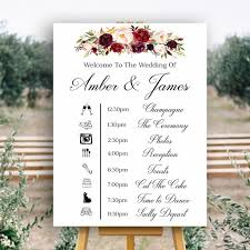 Wedding Timeline Wedding Timeline Sign Marsala Floral Crisp White Printable 20