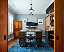 home office rug placement. Rug Placement Home Office Modern Industrial In Gray With A Bright Blue From