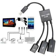 3 port power micro usb host otg hub adapter cable for htc lg samsung tab 7 8 aymbh