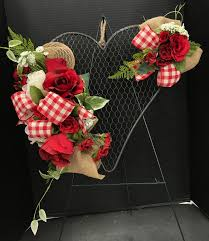 Floral Design Chicken Wire Red Floral On Chicken Wire By Andrea Michaels Custom