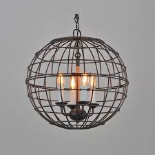 industrial style iron sphere chandelier