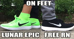 nike running shoes for men on feet. nike lunar epic flyknit / free rn on feet - youtube running shoes for men
