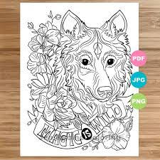 We have close to 100 images for you to choose from and you will find some to be really suitable for each age and stage of people in. Wolf Coloring Page Magical Animal Animal Art Coloring Page Etsy