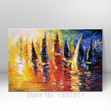 hand painted abstract oil painting boat ship sailing canvas oil paintings wall art pictures for living