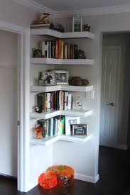 furniture: High Shelf On Wall Plus Floating Contents As Decorating Corners  And White Wall Paint