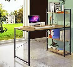 exceeder large workstation wood steel computer desk with storage shelves natural oak