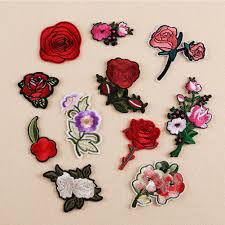 11pcs diy embroidery rose flower sew on iron on patch badge bag hat jeans applique