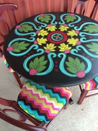 chevron painted furniture. chevron chairs and fabulous painted table by painting chick furniture