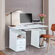 desktop computer furniture. Perfect Furniture HOMCOM Computer Table Desk PC Desktop Drawer Home Office Furniture White To G