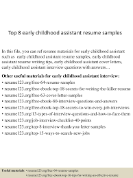 early childhood resume sample sample resume for graphic artist 4jpg cb 1431474320 top8earlychildhoodassistantresumesamples 150512234433 lva1 app6891 thumbnail 4 top 8 early childhood assistant resume samples