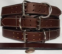 leather double hole dog collar 2 ply thick 1 75 inch wide