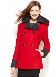 women s fashion outerwear pea coats red pea coats nautica double ted hooded pea coat