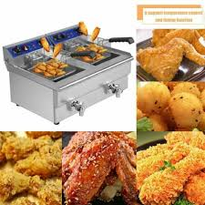 26L <b>Dual</b> Tanks <b>Electric Deep Fryer</b> Commercial Tabletop Fryer with ...