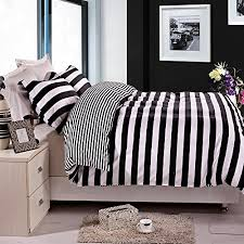 black and white bed covers.  White NTBAY 3 Pieces Duvet Cover Set Black And White Stripe Printed Microfiber  Reversible DesignFullQueen Stripe Intended And Bed Covers T