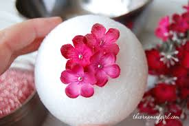 Decorated Styrofoam Balls pin flowers onto styrofoam ball Wedding Ideas Pinterest 13