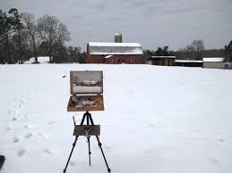 snow red barn plein air painting