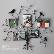 simple creative iron tree design with black birds 5 frame wall photo frame