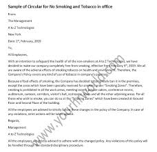 Sample Of Circular For No Smoking And Tobacco In Office Hr